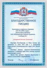 Министерство спорта имолодежной политики Нижегородской области выразило благодарность управляющему директору ОАО «Нижегородская сбытовая компания»